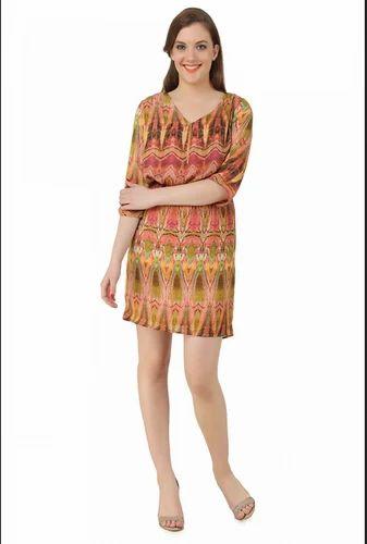 5d1ab6e0b0 Orange Shift Dress Snake Print at Rs 1499 /piece   Ladies Designer ...