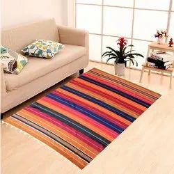 Striped Rectangular Cotton Floor Carpet, Size: 2x1.5 Feet