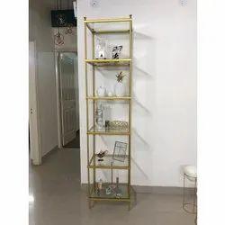 Golden Powder Coated Iron Metal Decor Shelf, for Home, 6