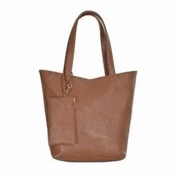 Azzra Brown Shoulder and Tote handbag With Mobile Pouch