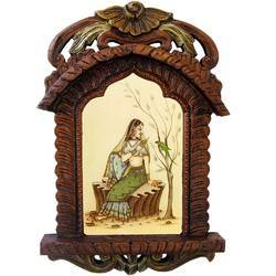 Lady Feeding Parrot Wooden Jharokha 439