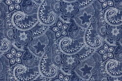 Paisley Hand Block Print Indigo Blue Cotton Fabric