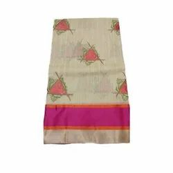 Formal Wear Ethnic Kora Embroidery Saree with Blouse Piece