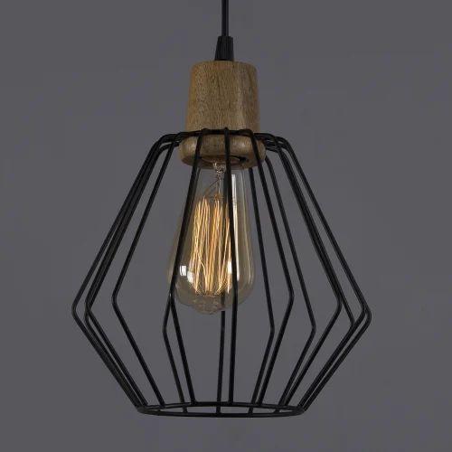cage pendant lighting. Incandascent Black Metal And Wood Art Cubist Cage Pendant Lights, 40W Lighting