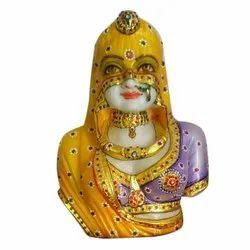 Marble Multicolor Rajasthani Bani Thani Statue, For Interior Decor, Size: 8 To 24 Inches