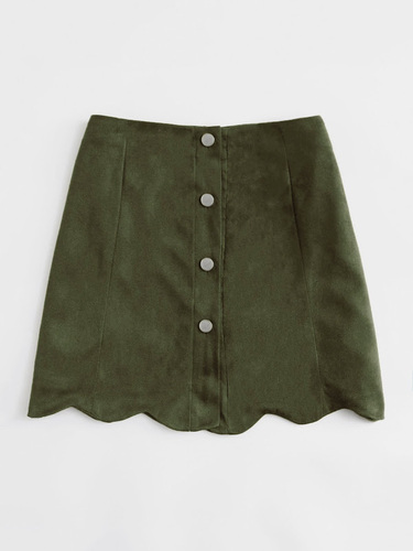c2df79995 Suede Green High Waist Button Scalloped Skirt, Size: 28, 30 & 32, Rs ...