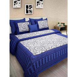 Blue & White Double Cotton Bed Sheet
