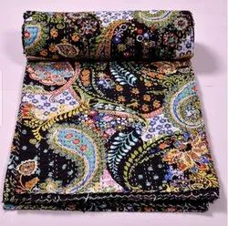 Indian Paisley Printed Kantha Bedspread