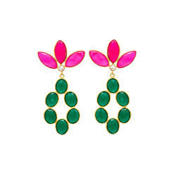 Colourfull Hot Colour Combination Green Onyx & Fuchsia Chalcedony Gemstone Earring