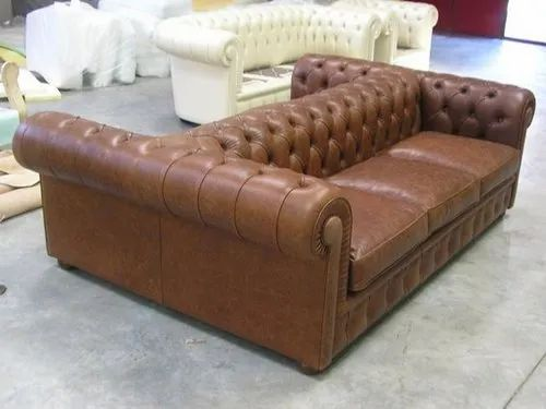 Pleasant Brown Modern Leather Two Sided Sofa For Home Rs 60000 Andrewgaddart Wooden Chair Designs For Living Room Andrewgaddartcom