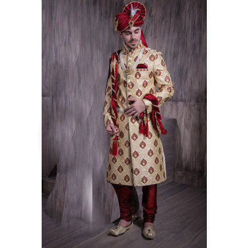 055b40a361 36-42 Cream & Red Mens Fashionable Wedding Wear Sherwani, Rs 6500 ...
