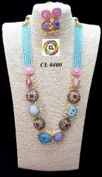 Cl Code Statement Fashion Jewelry Blue Druzy Stone Crystal Kundan And Antique Beads Necklace