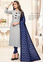 Sky Grey Rayon Kurti with Digital Print Dupatta