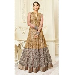 Golden Designer Anarkali Dress