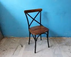 Vintage Industrial Style Outdoor Cross Back Restaurant Cafeteria Bistro Chair