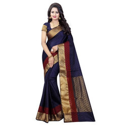 Emboss Tussar Silk Saree Zari Border