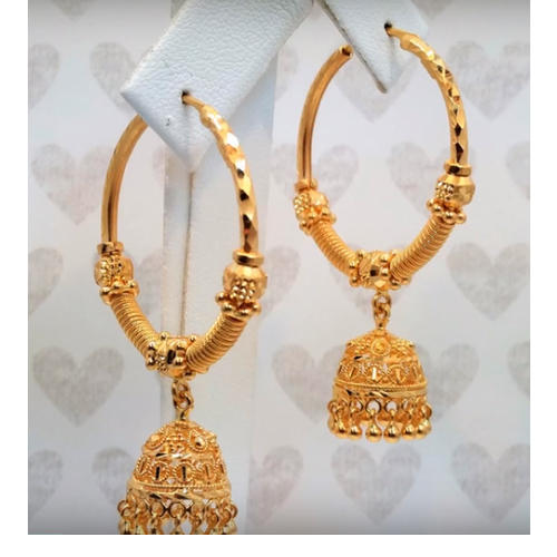 gold flower price newest jewelry brass product with jhumka earrings design