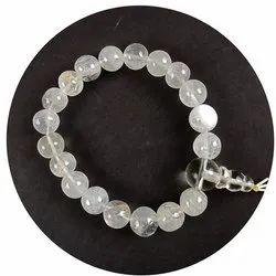 Eshoppee Clear Quartz/Sphatik Stone Power Crystal Bracelet With Guru Bead (Crystal White)