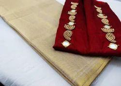 Silk Tissue Original Party Wear Saree with Handwork Blouse