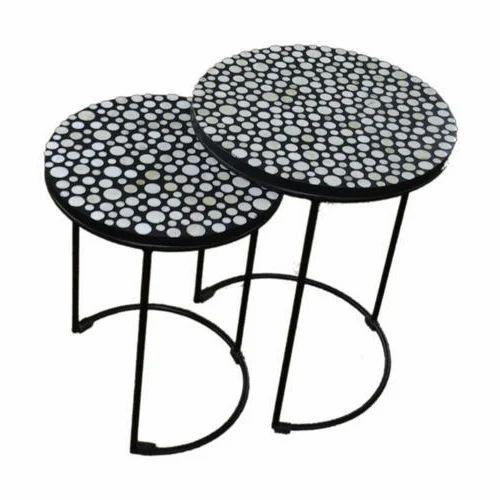 Lalji Handicrafts Wooden And Steel Bone Inlay Table Set