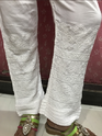 Elasticated Waistband White Chikankari Cotton Straight Pant
