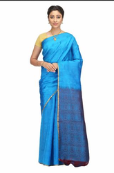 Hand Woven Blue Kanchipuram Pure Silk Saree