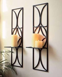Black IRON Wall Squire Candle Holder