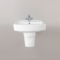 Ceramic White Wall Mounted Half Pedstal Wash Basin