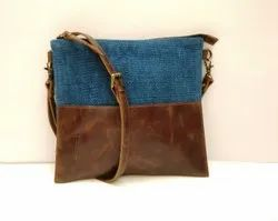Blue and Brown Leather Handbag, Gender: Women