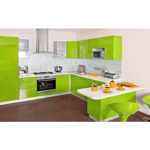 L Shaped With Breakfast Counter Best Shape Modular Kitchen L Shape Kitchen एल श प म ड य लर क चन एल आक र क म ड य लर रस ई Artndoff Home Solutions Lucknow Id 19365641833
