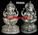 Silver Lord Ganesha On Lotus Statue