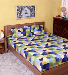 Cotton Multi Colored Printed Bedsheet