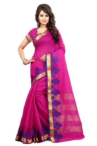 05c8751fc3903f Casual Sarees - Amazing Design Pink Poly Cotton Printed Sarees ...