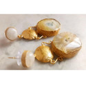 Druzy Gemstone Gold Plated Brass Exclusive Earrings
