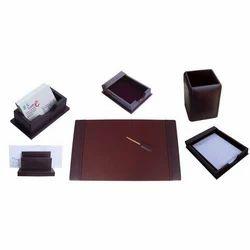 棕色勃艮第皮革7件桌子套装