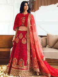 Women's Heavy Embroidery Bridal Lehenga Choli By Parvati Fabric (76644)