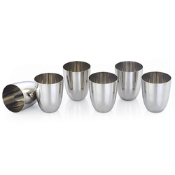 Set Of 6 Designer Stainless Steel Glass