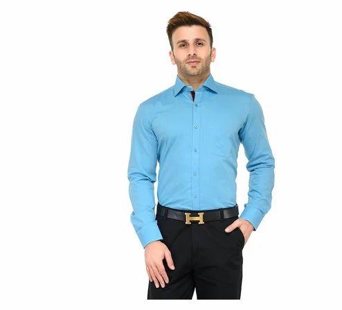 c8a672be31bc RG Designers (Light Blue) Solid Slim Fit Formal Shirt ...