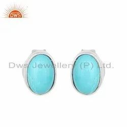 Arizona Turquoise Gemstone 925 Fine Silver Stud Earrings