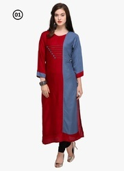 Rayon Plain Party Wear Kurti