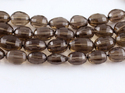 Smoky Quartz Stone Step Cut Oval Faceted Beads