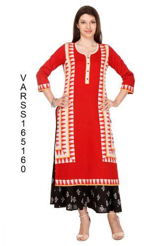 0e75901349 Varanga Rayon Designer Printed Straight Kurtis, Rs 699 /piece | ID ...