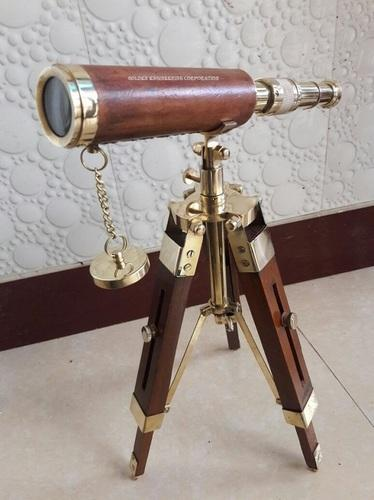 Brass Nautical Telescope with Wooden Tripod