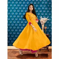 Ladies Cotton Anarkali Embroiodered Kurti