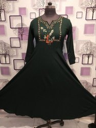 Cotton Casual Wear Ladies Designer Anarkali Kurti, Machine wash