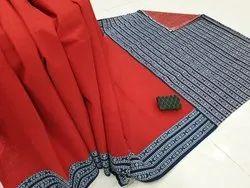 Bagru Hast Kala Printers Festive Wear Malmal Cotton Saree, 6.3 m (with blouse piece)