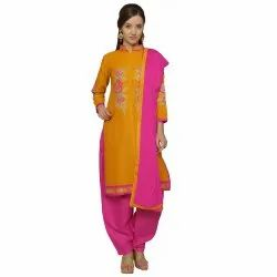 Yellow Colored Cotton Embroidery Unstitched Casual Wear Salwar Suit