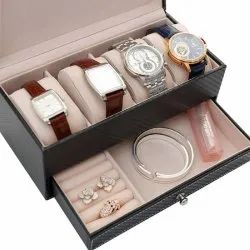 Rectangle Leather Watch Box Jewelry Box With Drawer Make Up Organizer Watch Jewelry Casket