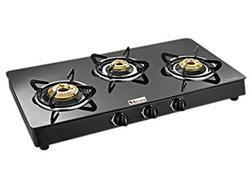SEAVY 3 brass burner gas stove with toughened glass top, rust proof cooktop non auto