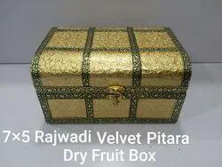 7x5 Inch Rajwadi Velvet Pitara Dry Fruit Box